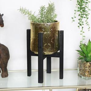 Metallic Gold Planter on Black Stand