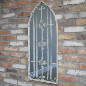 Rustic Arch Ornate Window Mirror 95cm x 40cm