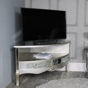 Mirrored Corner TV Cabinet - Tiffany Range