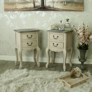 Mushroom Grey Painted Pair of Wooden 2 Drawer Bedside Chests - Louisiana Range