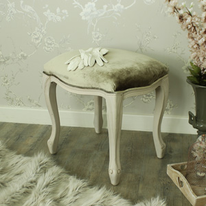 Mushroom Grey Wooden Dressing Table Vanity Stool - Louisiana Range