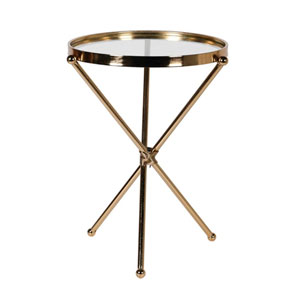 Gold Round Glass Topped Side Table