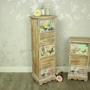 Natural Wooden Floral 5 Drawer Tallboy Chest of Drawers - Belle Range
