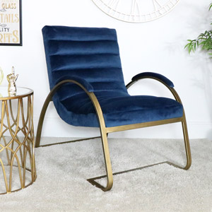 Navy Blue & Gold Ribbed Velvet Chair