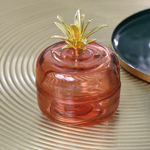 Orange & Gold Glass Pineapple Pot