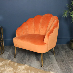 Orange Velvet Accent Chair