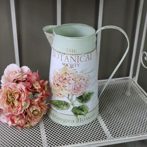 Ornamental Floral Hydrangea Metal Jug