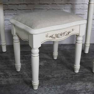 Ornate Cream Cushioned Dressing Table Stool - Adelise Range