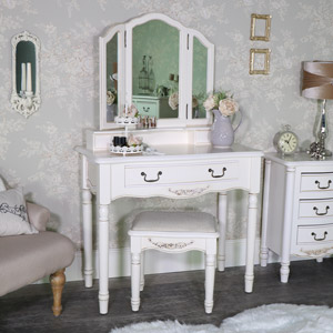 Ornate Antique Cream Dressing Table, Mirror and Stool Set - Adelise Range
