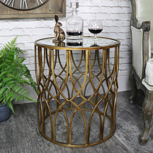 Ornate Antique Gold Mirrored Side Table