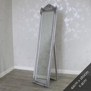 Ornate Antique Silver Full Length Vintage Freestanding Cheval Mirror 44cm x 180cm