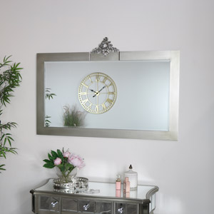 Ornate Antique Silver Wall Mirror - Tiffany Range