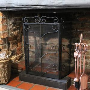 Ornate Black Fire Screen