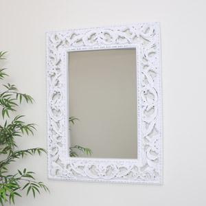 Ornate Carved White Wall Mirror 81cm x 106cm