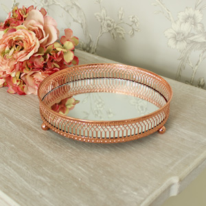 Ornate Copper Mirrored Tray