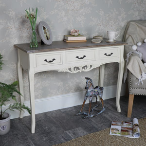 Ornate Cream 3 Drawer Console Table - Georgette Range