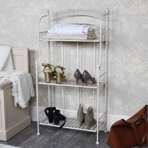 Ornate Cream Metal 3 Tier Shelving Unit