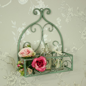 Ornate Green Metal Basket Wall Shelf