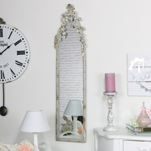Ornate Grey Arched Floral Mirror