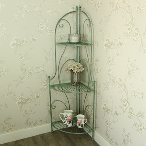 Ornate Metal 3 Tier Corner Display Shelf Unit