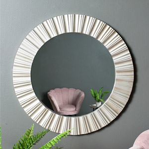 Ornate Round Silver Wall Mirror