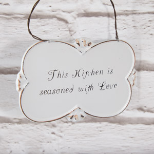 Ornate Shaped Metal Wall Plaque 'This Kitchen....'