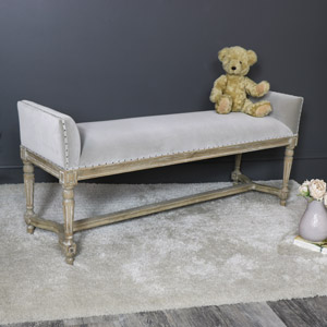 Ornate Taupe Upholstered Long Bench