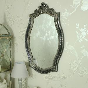 Ornate Vintage Grey Rose & Ribbon Wall Mirror