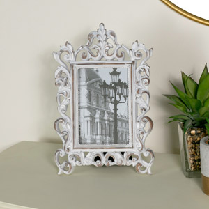 Ornate White Freestanding Photo Frame