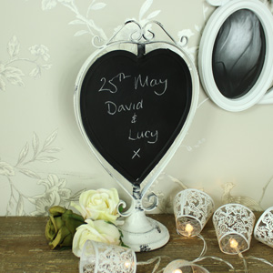Ornate White Metal Swivel Love Heart Chalkboard
