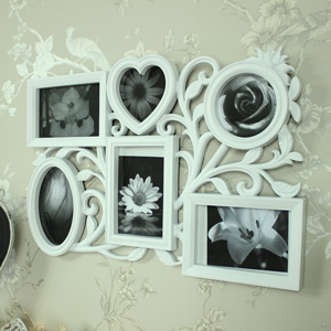 Ornate White Multi Photograph Frame