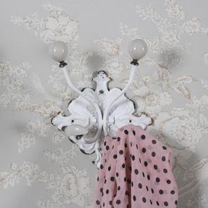 Ornate White Wall Mounted Coat Hook