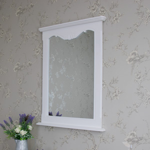 Ornate White Wall Vanity Mirror - Elise White Range