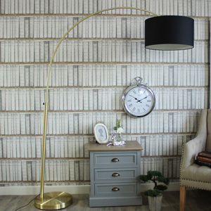 Oversize Brass Floor Lamp with Shade
