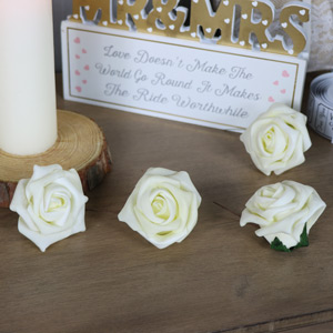 Pack of 12 Ivory Paper Roses