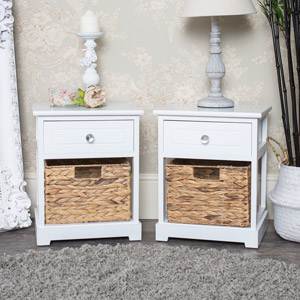 Pair Of 1 Drawer, 1 Basket Units - Salford Crystal White Range