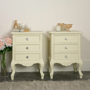 Pair of 3 Drawer Cream Bedside Tables - Elise Cream Range