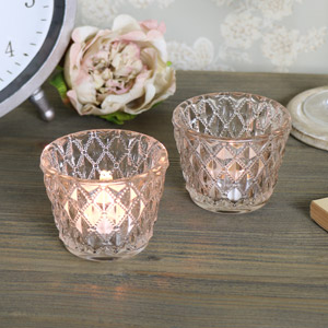Pair of Antique Cut Glass Tealight Holders