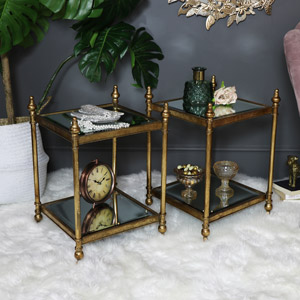 Pair of Antique Gold Mirrored Side Tables