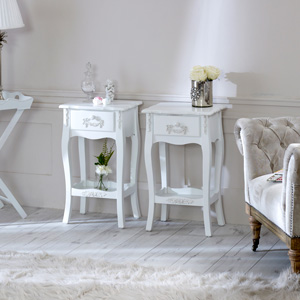 Pair of Antique White Bedside Tables - Pays Blanc Range