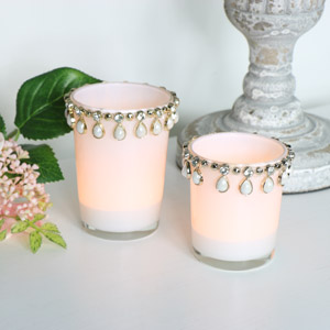 Pair of Beautiful White Jewelled Tealight Holders