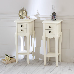 Cream Bedroom Set, Slim Cream 2 Drawer Bedside Tables - Belgravia Range