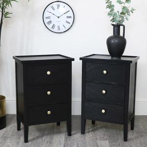 Pair of Black Pine Wood 3 Drawer Bedside Tables
