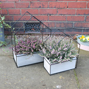 Pair of Black Wire Metal House Planters