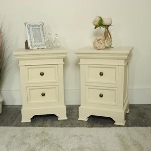Pair of Cream 2 Drawer Bedside Chests - Daventry Cream Range