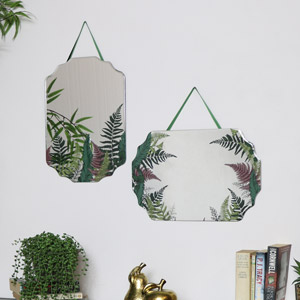 Pair of Fern Printed Frameless Wall Mirrors