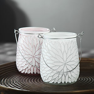 Pair of Frosted Pink and White Hurricane Candle Holders