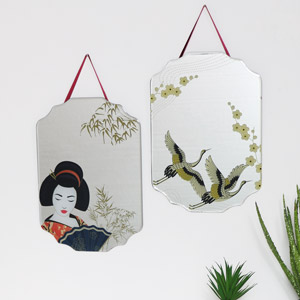 Pair of Geisha & Crane Printed Frameless Wall Mirrors