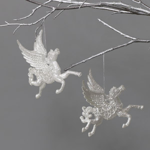 Pair of Glittery Silver Pegasus Tree Ornaments