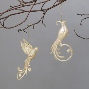 Pair of Gold Christmas Bird Tree Decorations